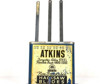 Vintage Atkins Hack Saw Blade Display Original 1950s Atkins Wood Countertop Hack Saw Store Display Vintage Hardware Store Display 1940s