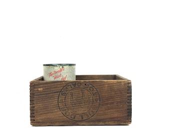 Antique Wood Crate Vintage Wood Box Bulldog Toe Calks 1930s Small Wood Box Antique Box Joint Box Bulldog Small Wood Crate Box