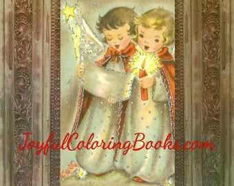 4 Christmas Colored Angels Large Gift Tags ~ Labels ~ Pictures ~Posters Grayscale Coloring Pages 8.5 x 11.5