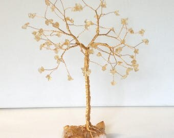 Gold Tree Sculpture. 50th Wedding Anniversary Gift. Citrine Gemstone Tree. Gold Wire Ornament Golden Wedding Anniverary Gift
