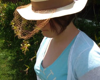 Summer Ivory Straw Hat with Brown Bow, Band, and Netting-Veil Vintage Woman's Girl's size 6 1/2