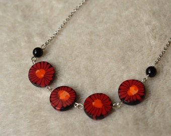 Choker necklace - red, Orange, black ethnic, flat round beads - silver plated chain