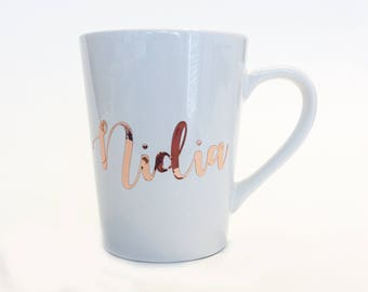 Rose Gold Foil - Bridesmaid Custom Name Ceramic Coffee Mug Gold in Script Font / Wedding Party Gift / Bridesmaid Gift