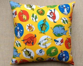 The Cat In The Hat Dr Seuss Fabric Cushion With Interior 40cmx40cm