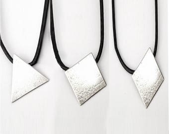 Solid silver Women triangle Pendant Necklace