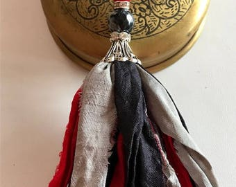 Silk Sari Tassel Necklace-Red, Black, Gray Tassel-Boho Tassel Jewelry
