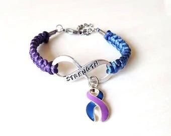 Rheumatoid Arthritis STRENGTH Hand Stamped Charm Bracelet