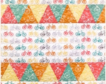 Cute Modern organic cotton baby quilt, bicycles, Just for Fun Birch Fabrics, Reversible, Wall art, Free Shipping, Made in USA