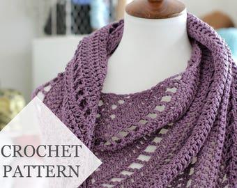 Free Yourself Crochet Shawl Pattern // Crochet PDF Pattern Tutorial Summer Shawl Eyelet Mesh Lace Wrap Striped Tassel Bandana Triangle Cowl