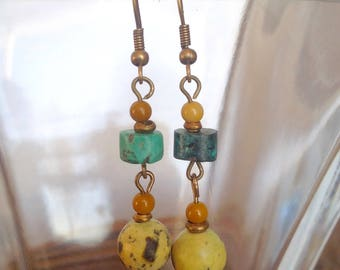Yellow Turquoise and Mookaite Earrings