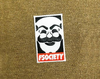 Awesome Large Mr. Robot fsociety Patch 8cm Badge for Shirt Hat Cap Jacket Great for Halloween Costume