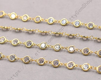 1ft, Round White Zircon Connector Chain With Gold Plated -- Faceted Rosary Chains Wholesale Handmade Craft Supply CQA-091