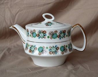 """Gibsons Teapot ~ 1950s ~ Blue/Green and Browns ~ Gold Trim ~ Floral Motifs ~ """"W 932 D"""" ~ Made in England ~ Tea Kettle ~Mid Century ~ MCM"""