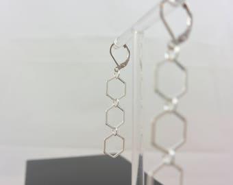Triple Hexagon Silver earrings