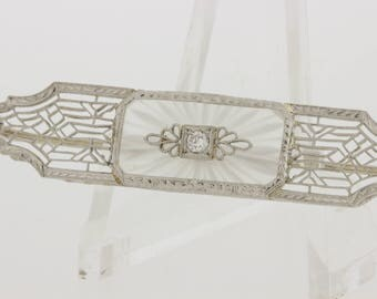 14K Gold Camphor glass Filigree Brooch