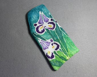"Hand Painted Silk Glasses Case ""Iris"""