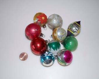 Vintage Christmas Glass Ball Ornaments Set of 10 Mini Small