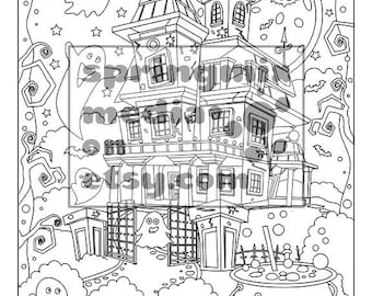 Halloween Coloring Page - Haunted House - Sweet Halloween Coloring