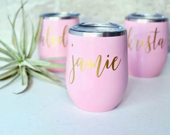 Stainless Steel Wine Tumbler Bridesmaid Gift - Wine Tumbler - Bachelorette Gift Personalized Monogrammed Tumbler With Lid & Straw
