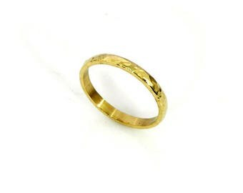 14k Yellow Gold Wedding Band-2 x 1.3 mm.Slightly Domed-Hammered Wedding Band-Handmade-Men's band-Women's band-WR11.