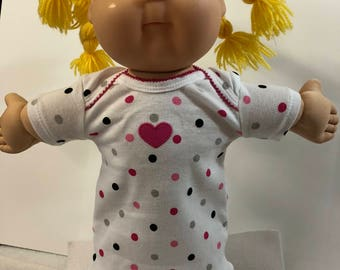 "Cabbage Patch KIDS 16 inch Doll Clothes, Pretty ""POLKA Dots & Pink HEART"" Nightgown, 16 inch Cabbage Patch Doll, Fits 15 inch Bitty Baby"