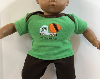 "BOY 15 inch Bitty Baby Clothes, 2-Piece Outfit, ""DOG Driving Truck - Will Work for HUGS"" Top, Brown Pants, 15 inch American Doll Bitty Boy"