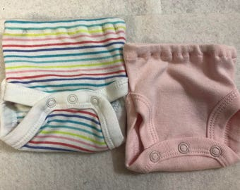 Baby Doll Diaper Covers, Panty, 15 inch AG Bitty Baby Clothes or Twin, Fits 16 inch Cabbage Patch, SET of 2 for 3.00, Cool STRIPES & Pink