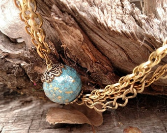 Necklace - Turquoise and Gold