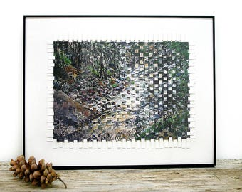 Paper Weaving- 2 Woven Landscape Prints - 8.5x11- Framed 11x14, Ready To Hang- Rocky Mt. National Park, Colorado- Rustic Modern- Horizontal
