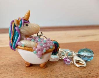 Purple & Turquoise Unicorn in a Bath Mini Lobster Clasp Charm - polymer clay - art sculpture - bubbles- magic - pastel claw foot tub- OOAK.