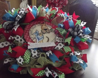 Deco mesh ribbon wreath-Doggie