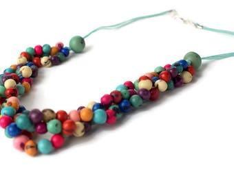 Acai beads Necklace, Beaded Necklace,  Torsade necklace, multi strand necklace, chunky necklace, eco friendly, spring
