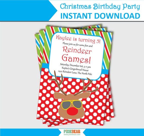 Christmas Birthday Party Invitation Summer Christmas Reindeer
