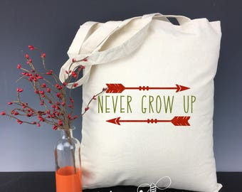 Never Grow Up Peter Pan inspired Natural Cotton Canvas Tote Bag