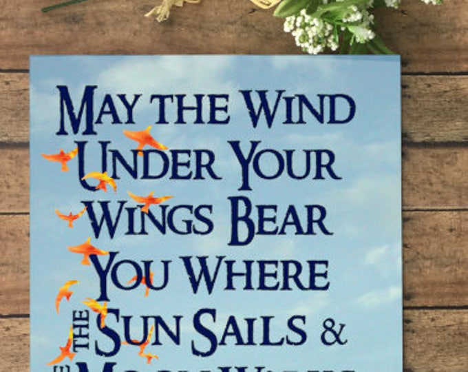 Featured listing image: May the Wind Under Your Wings Bear You Where the Sun Sails & the Moon Walks Art Print inspired by Tolkien Spoken by Gandalf in The Hobbit