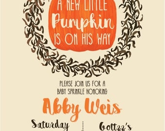 A Little Pumpkin is on their way  Baby Shower Invitation (DIGITAL COPY)