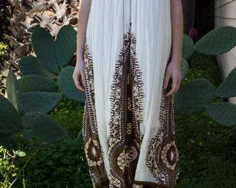 V-Neck White Fully Lined Breezy Maxi Dress with Brown Ornate Print