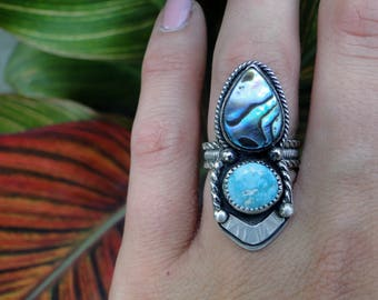 Liquid Riot Collection; Abalone Shell and Royston Turquoise, Sterling Silver, Abalone Ring, Paua Shell, Royston Turquoise Ring, Size 6