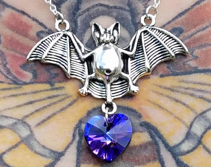 Featured listing image: Silver Vampire Bat and Swarovski Heart Necklace, Halloween Vampire Bat Necklace