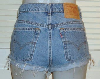 Vintage Levis High Waisted Cut Off Distressed Festival Blue Jean Shorts~9~
