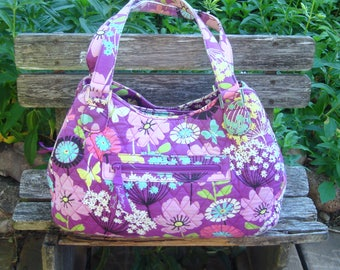 Vera Bradley Retired Flutterby Large Hobo Tote Shoulder Bag