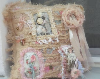 Dusty Ivory Pale Pink Pillow Case - Shabby Chic Pillow decorated with romantic 3D fragments, Vintage Inspired Shabby pillow, Pillow cover