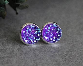 Dark Purple Earrings, Purple Druzy Earrings, Purple Stud Earrings, Purple Druzy Studs, Purple Post Earrings, Purple Earrings, Druzy Earrings