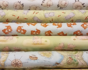 Fabric Bundle of Timeless Treasure Cotton Tale Farm  by Bunnies by the Bay - 9 different fabrics