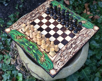 READY TO SHIP! - Chess Board & wood Staunton pieces, Handcrafted woodburned game, Green Man motif, Classic traditional game, Unique creation