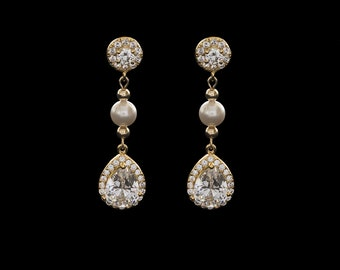 Bridal Earrings, Drope Earrings, Wedding Earrings, Pearl Earrings, Rhinestone Earrings, CZ Earrings | SABRING Gold