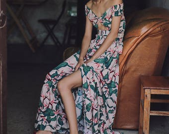 Miss Paris-London Collection set2 green pink floral summer blossom two pieces top and long skirt