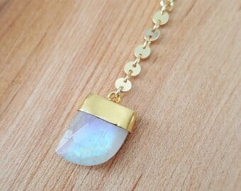 Shark Tooth Rainbow Moonstone 14K Gold Filled Y Necklace / Lariat / Moonstone Lariat Necklace / Boho Jewelry / Moonstone Y Necklace