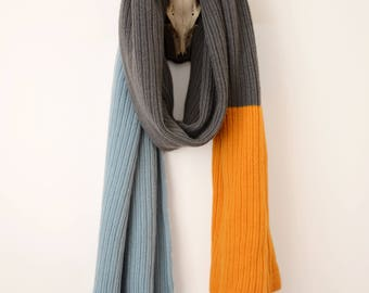 Stupidly Long and Wide Luxurious Striped Shetland Wool Wrap - Grey, Yellow, Light Blue. Extra Long Knitted Scarf