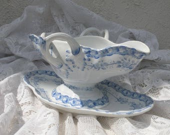 RARE French antique ironstone sauce boat gravy boat, blue and white transferware, vintage French, country home, Creil et Montereau ironstone